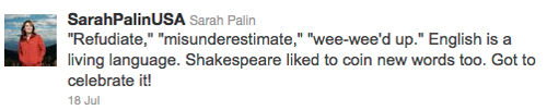 Palin replies to critics in this tweet: