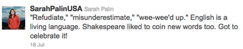 Palin replies to critics in this tweet: