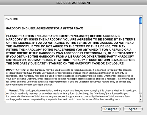 An end-user license agreement for a traditional printed book