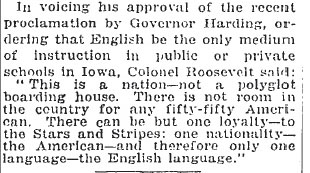 Excerpt from New York Times in which Theodore Roosevelt says,