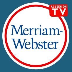 "Merriam-Webster logo with ""As Seen on TV"" superimposed on it."