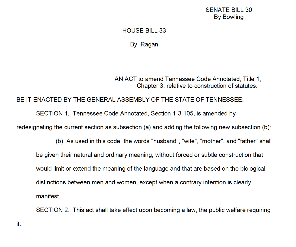 Tennessee S New Plain Meaning Law Masks An Anti Gay Anti Feminist