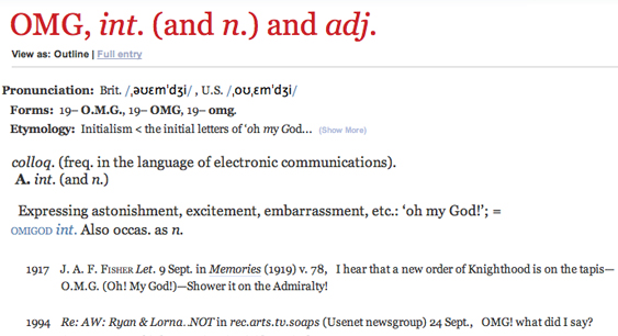 OED definition of OMG