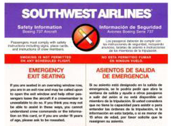 Southwest emergency card in English and Spanish