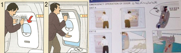 Graphics showing how to operate emergency exits