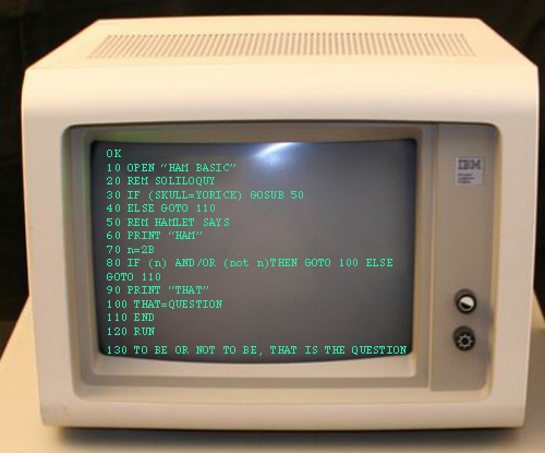 IBM PC displaying HamBasic program on the screen