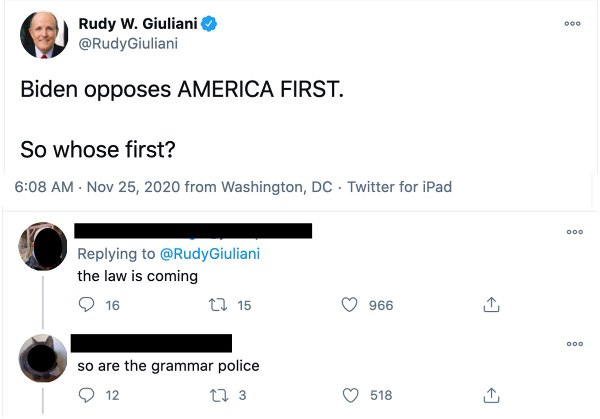 Giuliani tweet using whose for who is