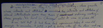 Excerpt from Unabomber's handwritten diaries