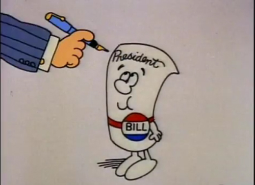 Schoolhouse Rock still of president signing bill with a fountain pen