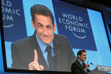 Sarkozy addressing the G8 Summit