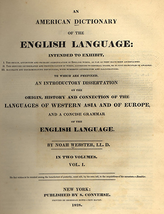 Title page of Webster's 1828 dictionary