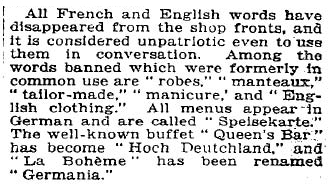 New York Times reports German ban on English and French in 1933
