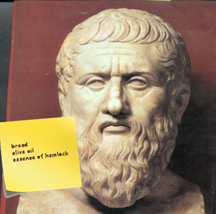 Bust of Plato with a shopping list that reads,