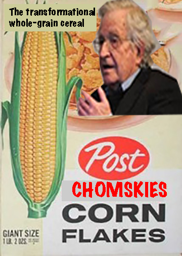 Post Chomskies, the transformational whole-grain cereal, with a picture of the linguist Noam Chomsky on a cereal box