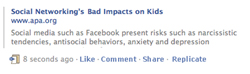 The APA press release on the dangers of Facebook allows readers to share it on Facebook.
