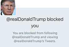 Message that users get when Trump blocks them