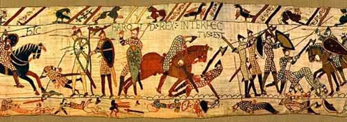 The death of Harold, from the Bayeux Tapestry