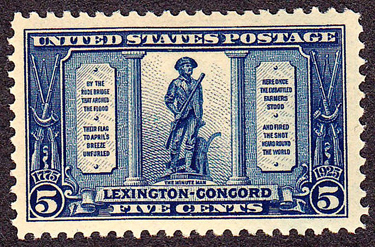 The shot heard round the world 5 cent stamp
