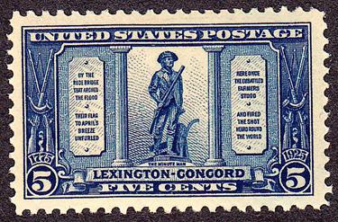 The shot heard round the world 5 cent stamp