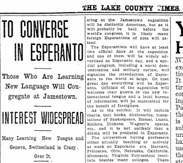 A news story about an Esperanto meeting in 1907