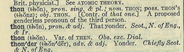 "Definition of ""thon"" from Merriam-Webster's Second New International Dictionary, 1934."