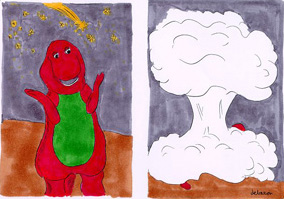 Barney meets the meteorite cartoon. first panel shows Barney with meteorite descending in background. Second panel shows mushroom cloud with bit of Barney visible in one corner.