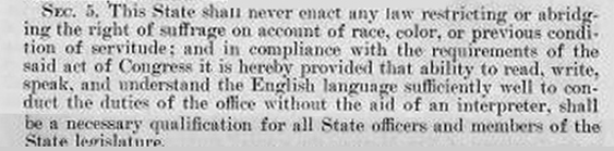 Almost identical New Mexico requirement of English for office holders was rejected as unconstitutional.