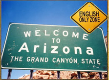 Highway sign reads, 'Welcome to Arizona, an English-only zone'