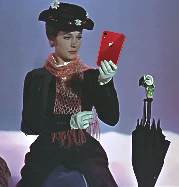 Mary Poppins with an iPhone