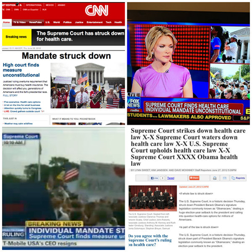 Screenshots of CNN and FOX headlines and banners announcing that the health care mandate was struck down