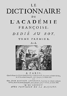 dictionary of the French Academy, 1694