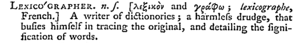 Johnson's definition of 'lexicographer' as