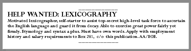 Help wanted: Lexicography
