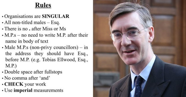 Jacob Rees-Mogg and his style guide