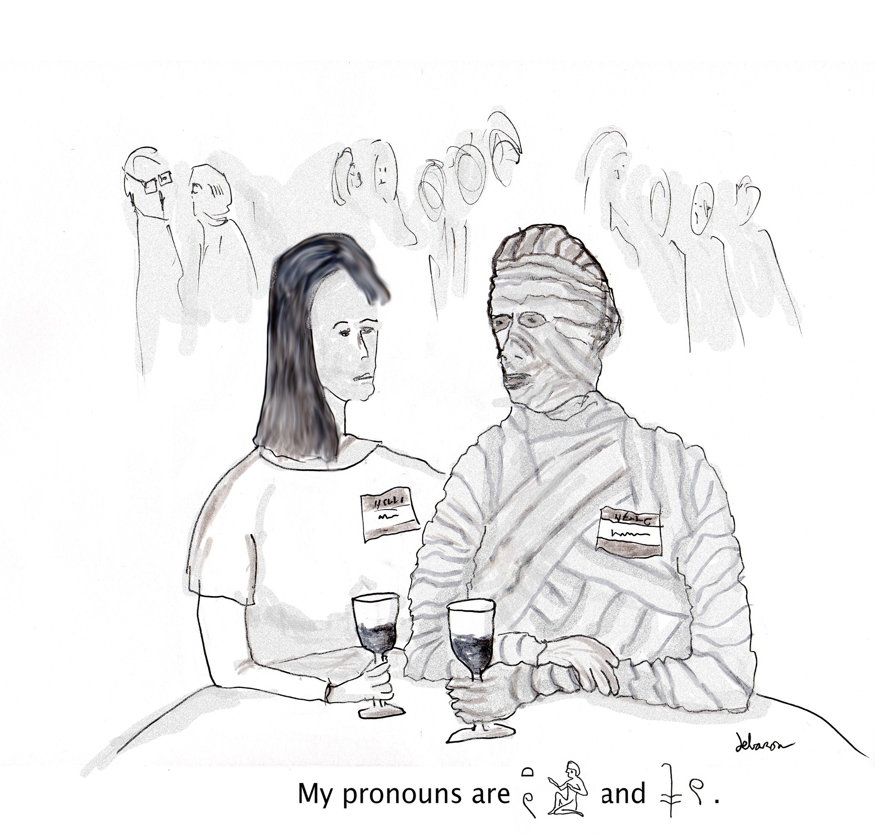 A mummy at a cocktail indicates their pronouns as two hieroglyphs