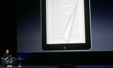The late Steve Jobs demonstrates Apple's patented pageturning animation on a giant prototype iPad. The pageturner works on Apple's new minipad as well as the iPhone.