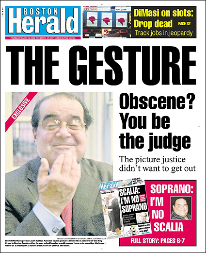 Justice Scalia makes an obscene gesture