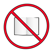 No reading: an open book inside a barred red circle
