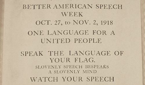 Better Speech Week Oct 1918.