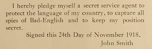 Secret agent pledge