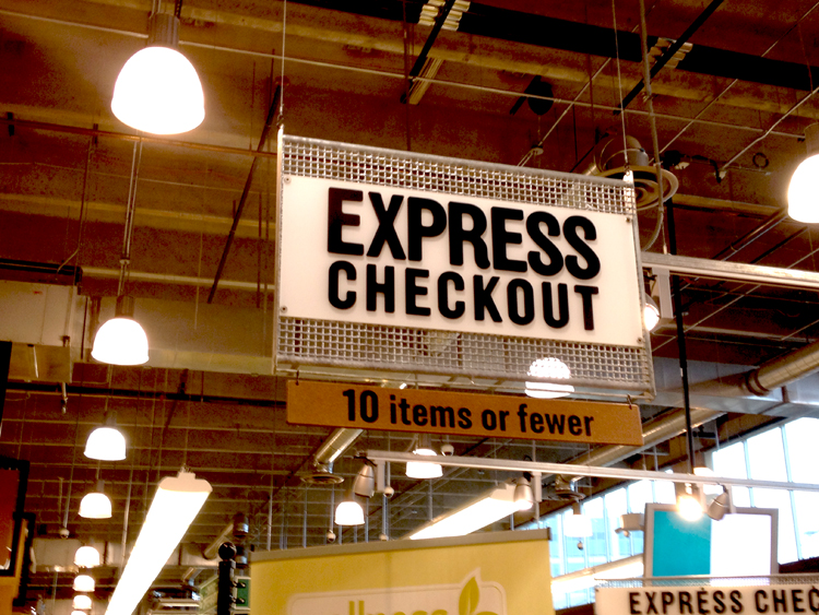 Whole Foods express lane, 10 items or fewer