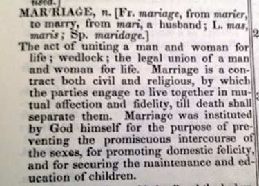 Noah Webster defines marriage