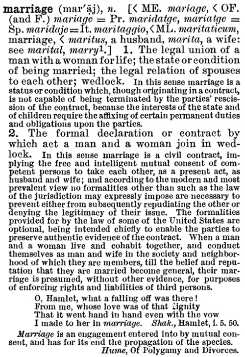Century Dictionary describes marriage