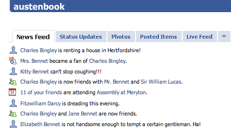 Pride and Prejudice as FB updates