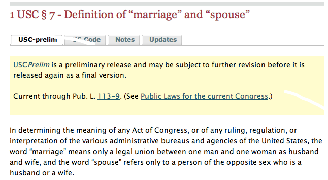 Defense of Marriage Act defining