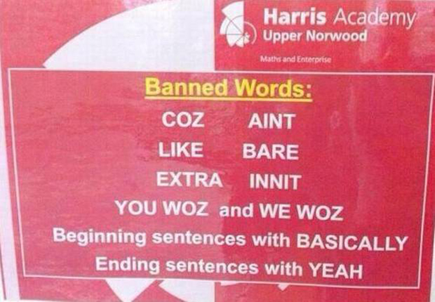 Harris Academy sign lists banned student words