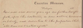 The Nicolay Copy of the speech, on Executive Mansion stationery