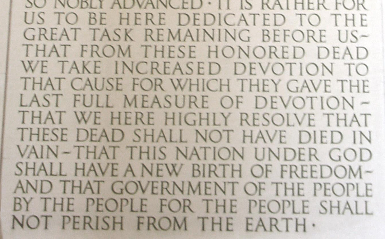 Gettysburg Address on the Lincoln Memorial
