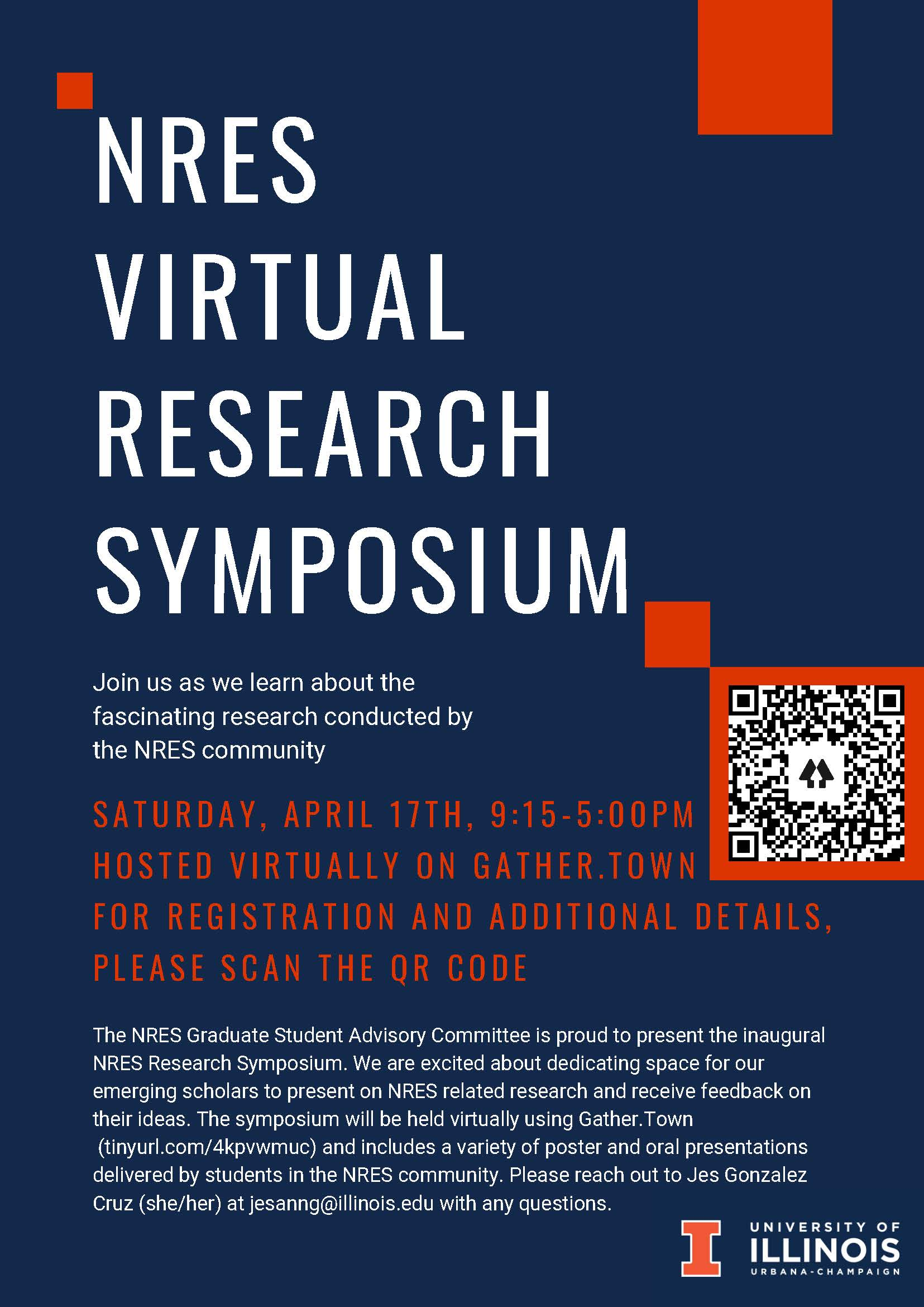 Flyer for NRES Virtual Research Symposium. Register at https://linktr.ee/UofI_NRES