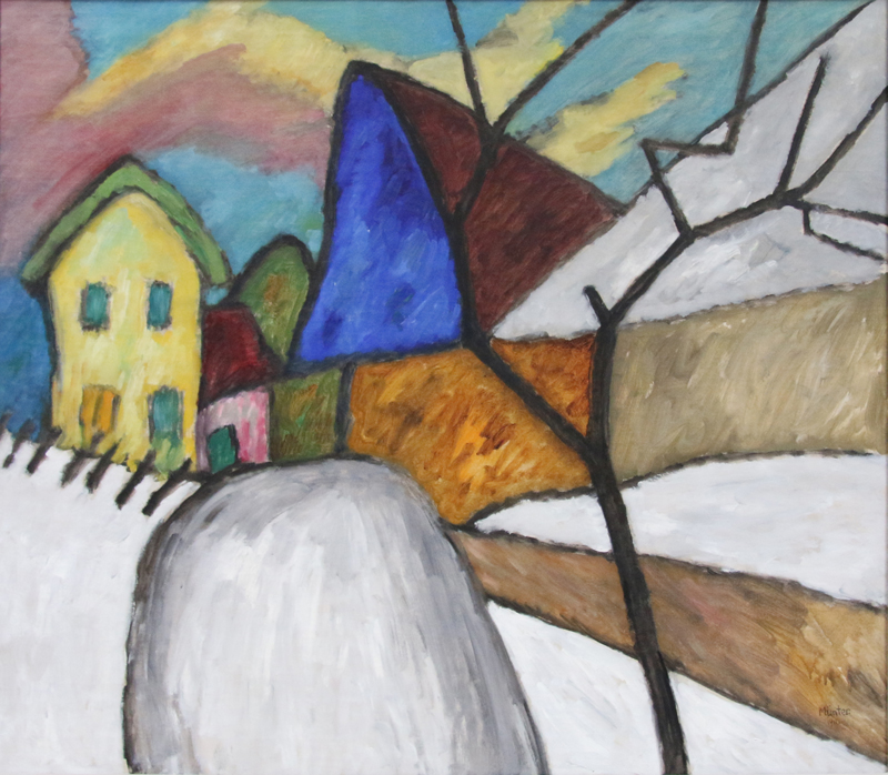 Gabriele Munter, The Blue Gable, 1911. Gift of Albert L. Arenberg 1956-13-1 (Post-conservation image courtesy of Krannert Art Museum, University of Illinois at Urbana-Champaign)